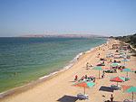 Городской пляж г.Щёлкино. Отдых на побережье Азовского моря. Крым. Россия
